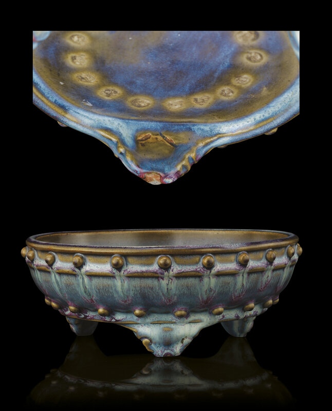 A rare 'numbered' junyao tripod 'narcissus' bowl, Yuan-Early Ming dynasty, 14th-15th century
