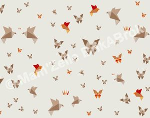 ORIGAMI TAUPE ORANGE 20x40 Fond gris clair 2