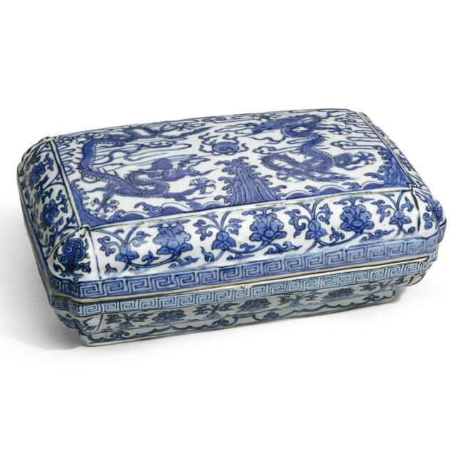 Lot 52. A blue and white rectangular 'dragon' box and cover, Wanli Mark And Period (1573-1620); 23.8cm., 9 3/8 in. Estimate 15,000—20,000 GBP. Lot Sold 46,850 GBP. Photo Sotheby's 2011
