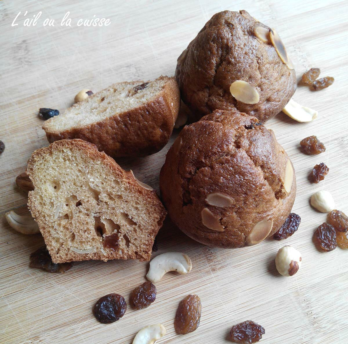 Muffins amandes & raisins à l'huile de noix
