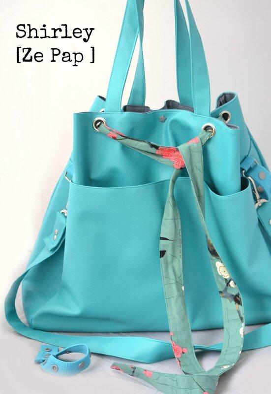 sac à langer original créateur shirley ze pap multi portage simili cuir bleu ceinture cerisier