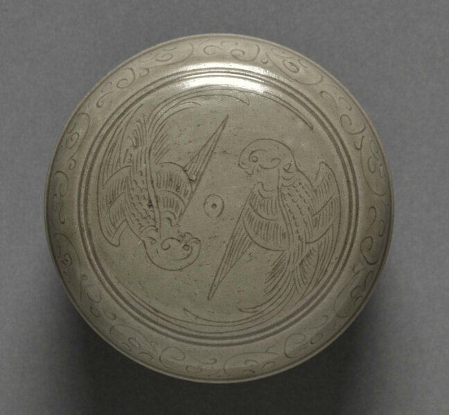 Covered Box with Double-Parrot Design, Yue Ware, China, Zhejiang province, Northern Song dynasty