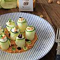 Roules de courgettes crues au fromage de chevre et cacahuetes - puree de panais carotte et cacahuetes