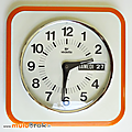 Déco vintage ... horloge dateur vedette * orange