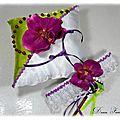 Coussin alliances jarretière dentelle blanc violet