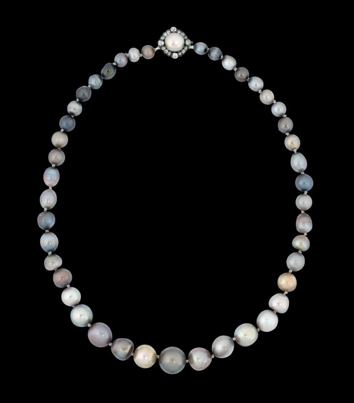 A rare 19th century natural coloured pearl necklace