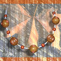 Collier Fimo multi caramel et rivets orange