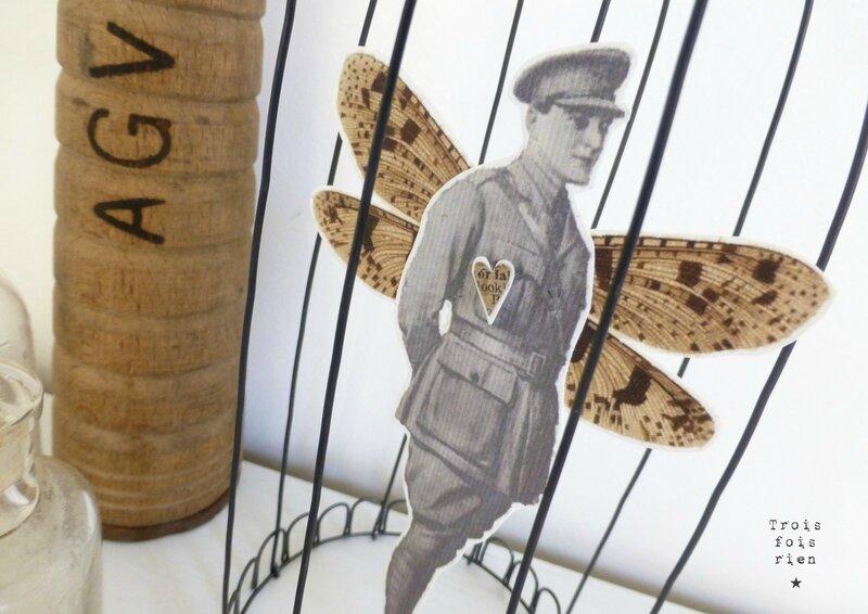 Drôle d'oiseaux N° 31, cage fil de fer, wire, fil de fer, papillon, soldat, soldier, trois fois rien (2)