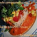 Salade composée au riz, coulis de poivron rouge
