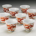 Eight iron-red 'dragon' wine cups, daoguang seal marks and period (1821-1850)
