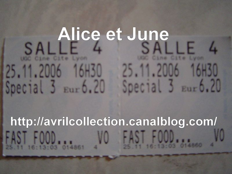 Tickets de cinéma Fast Food Nation (2006)