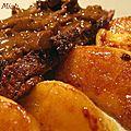 Magret de canard aux pommes, sauce foie gras et balsamique
