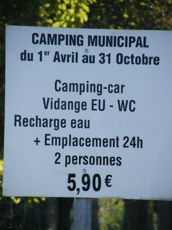 tarif camping joigny
