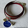 Bracelet cuir double tour I love Paris