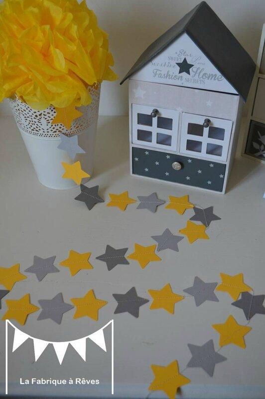 guirlande étoiles cousues papier carton gris jaune étoile décoration chambre enfant bébé garçon fille