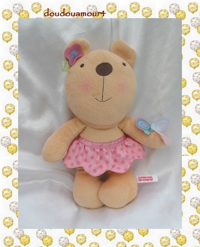 Doudou Peluche Ours Jupe Rose à Pois Papillon Fisher Price