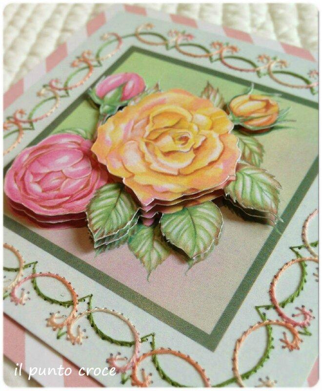 carte Brodée rose 3D