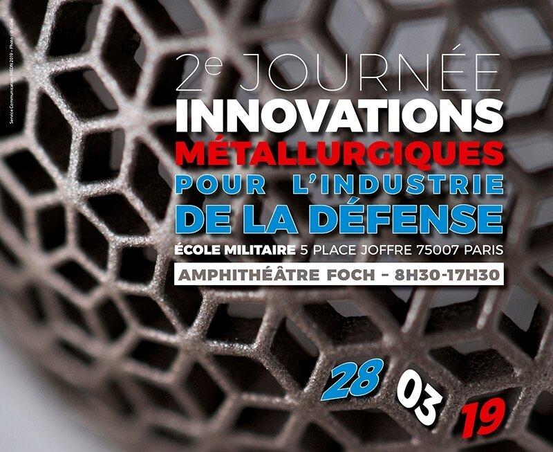 Journée Innovations métallurgiques pour la Défense - 28 mars - Ecole militaire de Paris