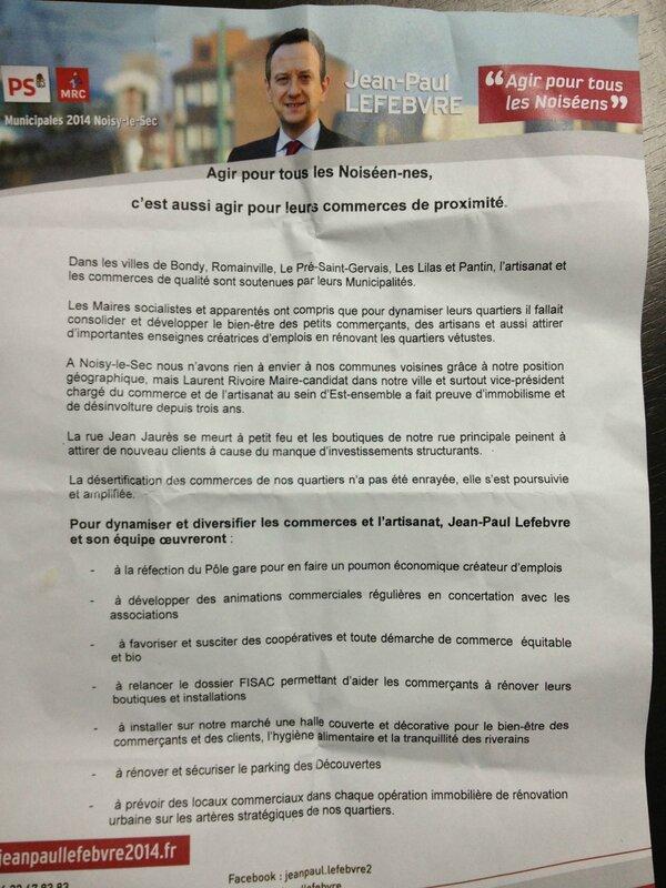 tract économie Noisy-le-Sec candidat socialiste