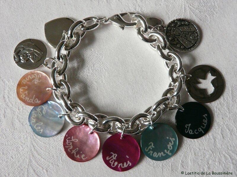 Fête des Mères (bracelet personnalisé sur chaîne plaqué argent ovale)
