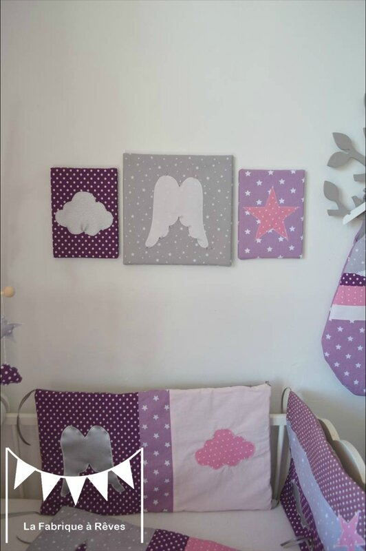 triptyque tableau d coratif chambre enfant b b fille ange toile parme violet rose gris photo. Black Bedroom Furniture Sets. Home Design Ideas