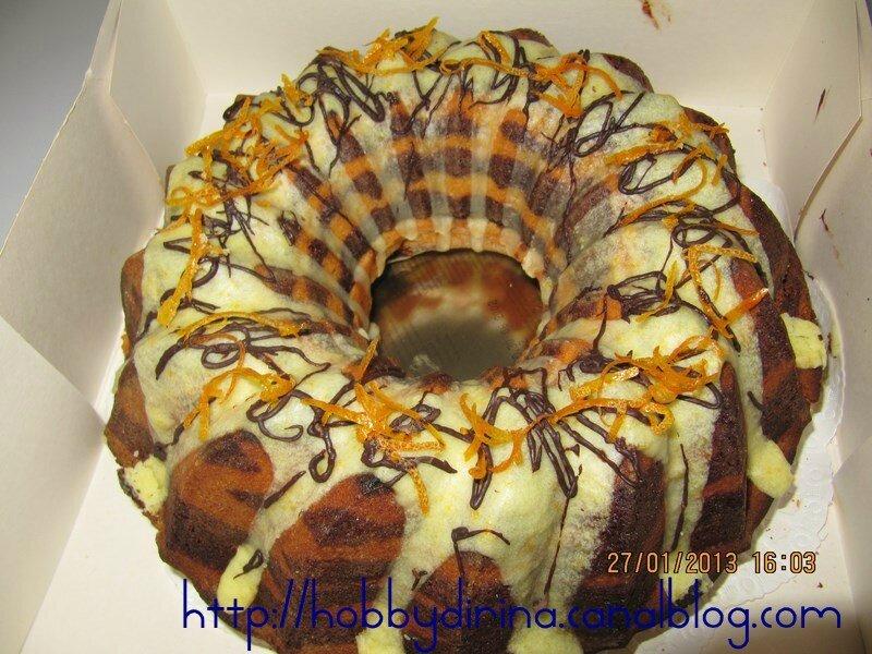 Cake marbré chocolat-orange