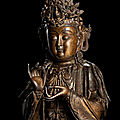An important and rare gilt-bronze figure of mahasthamaprapta, late ming dynasty
