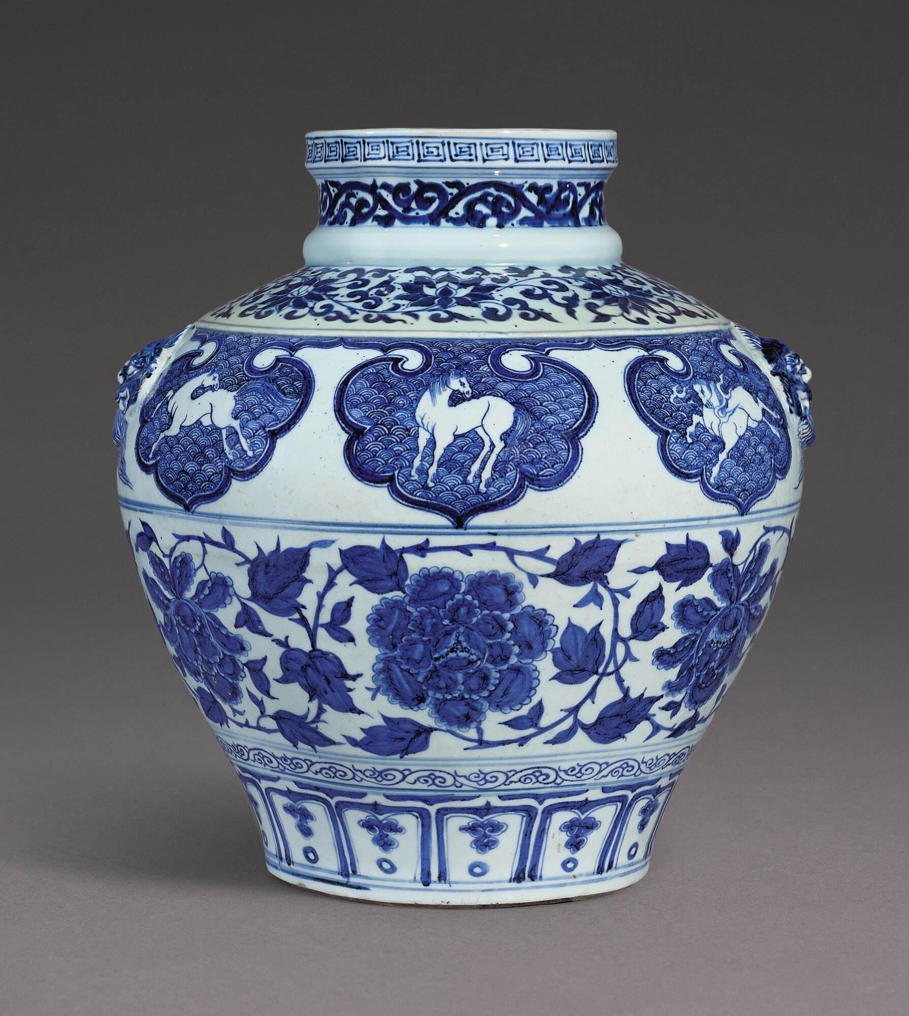 A rare blue and white 'Heavenly Horse' jar, Yuan dynasty (1279-1368)