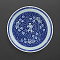 A blue and white 'boy and peony' dish, mark and period of kangxi (1662-1722)