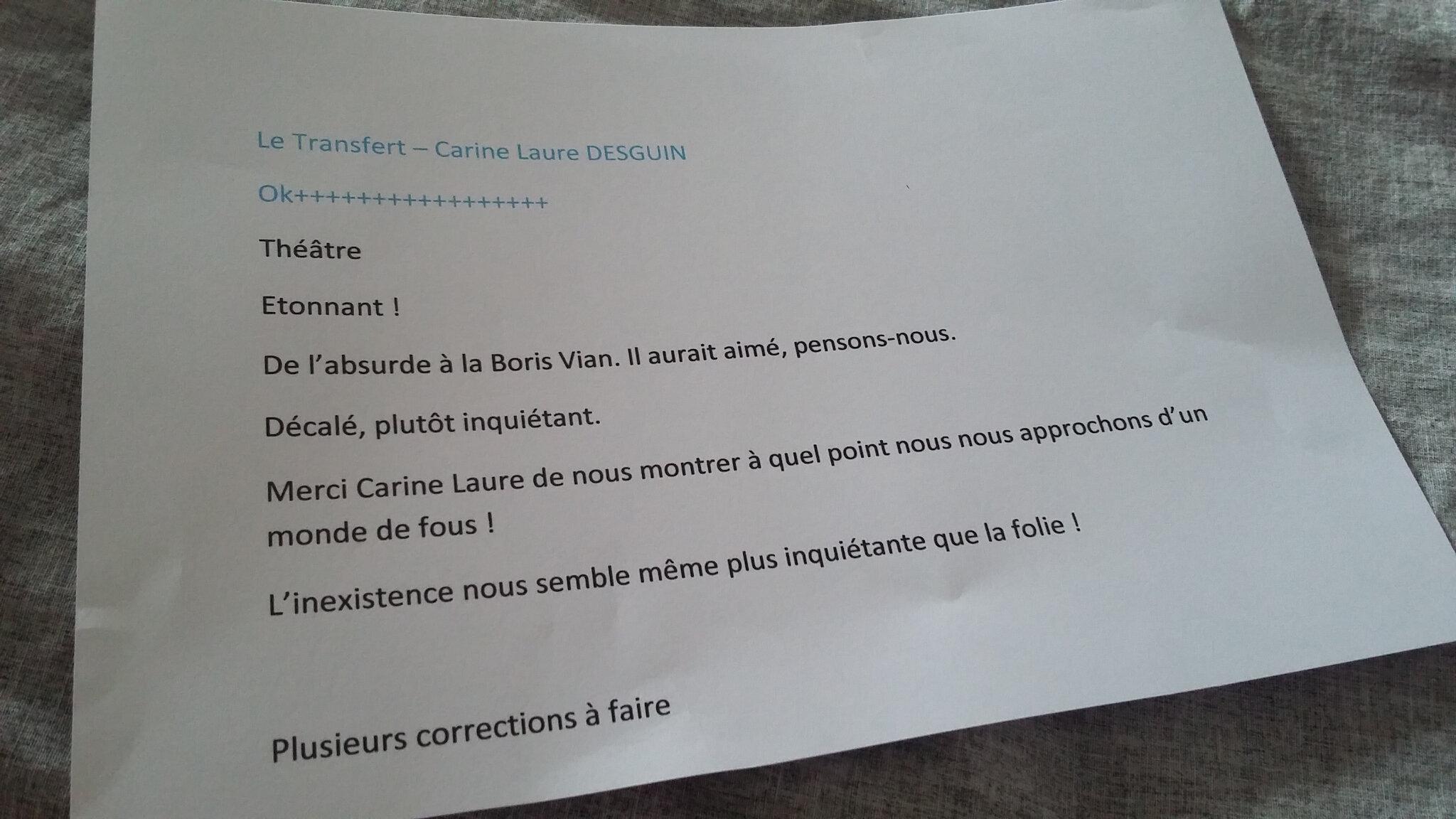 Le Transfert, texte théâtral, avis du comité de lecture des Editions Chloé des Lys