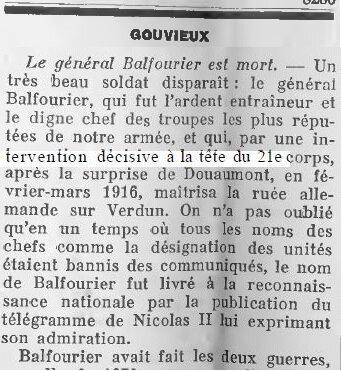 1919 02 14 le général Balfourier est mort
