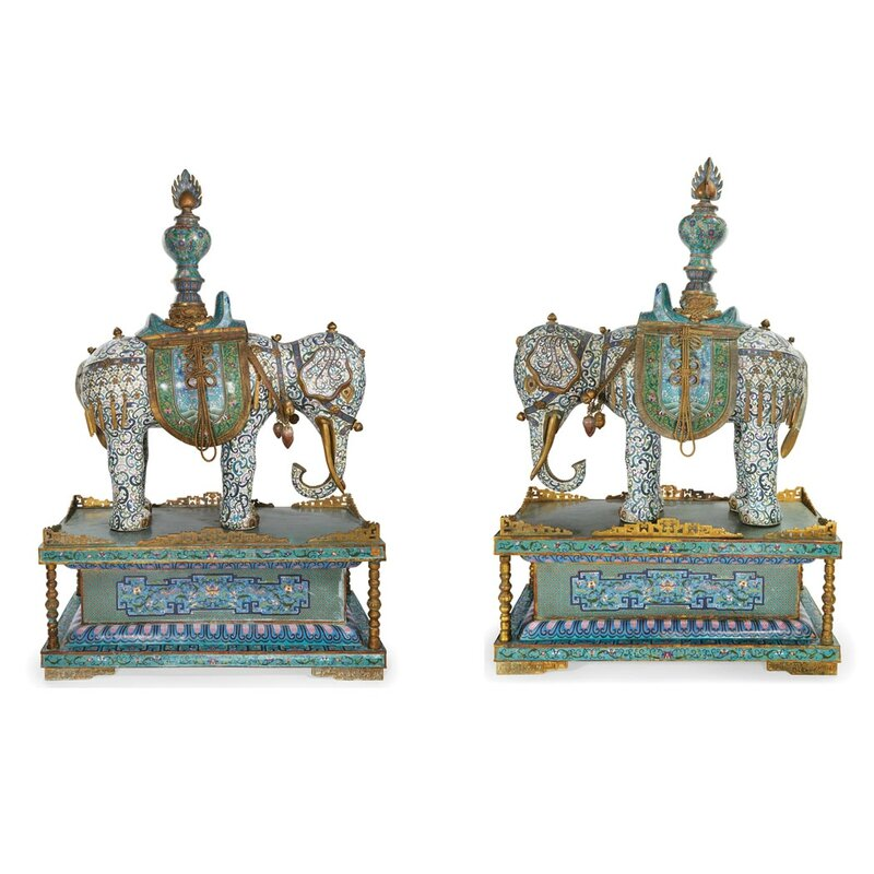 Pair of Massive Chinese Cloisonne Elephants1