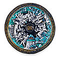 Léonard limosin (circa 1505-1575/1577), 1536, tazza lid with scenes depicting the battle of the lapiths and centaurs
