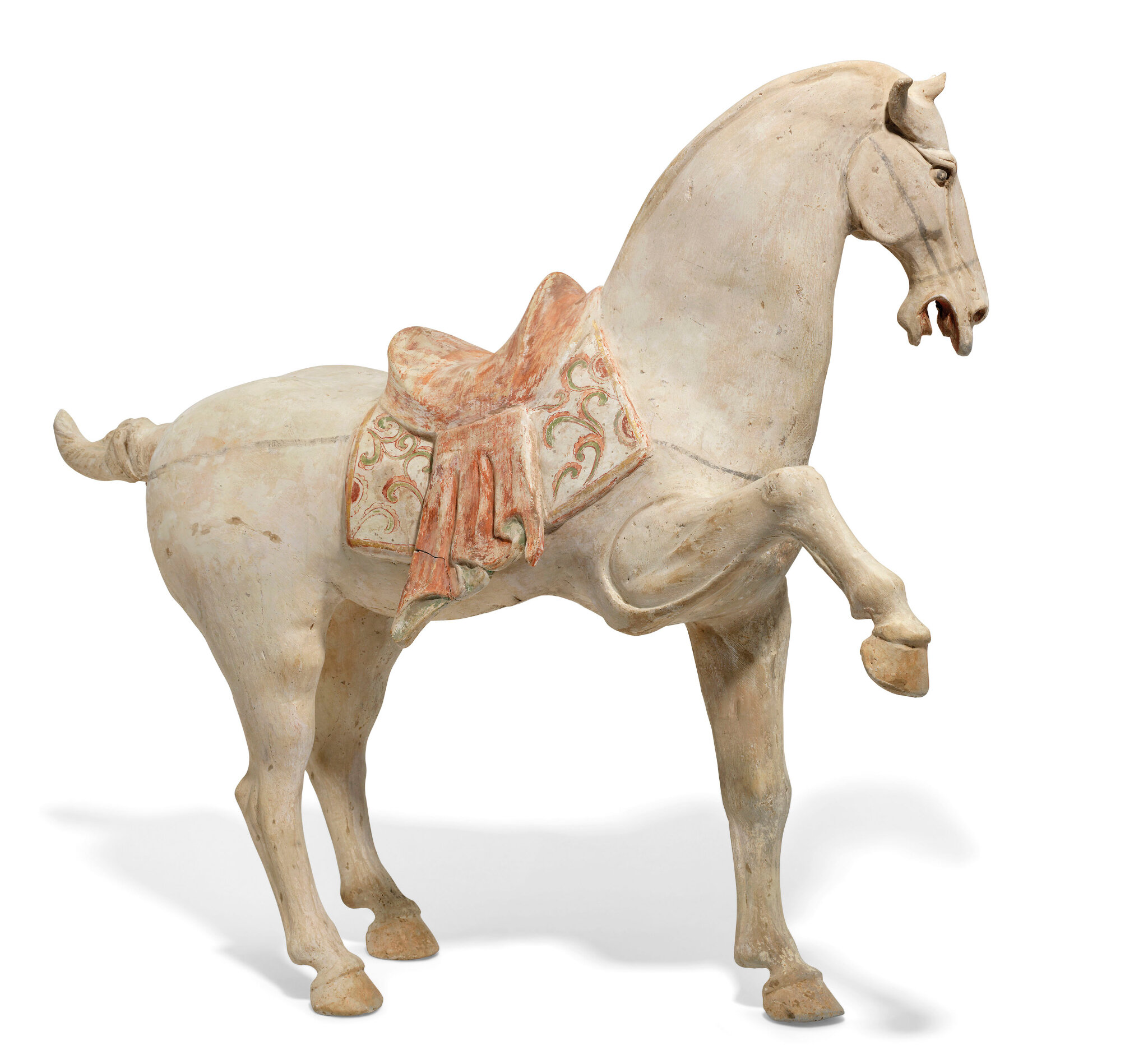 A large painted pottery figure of a prancing horse, Tang dynasty (ad 618-907)