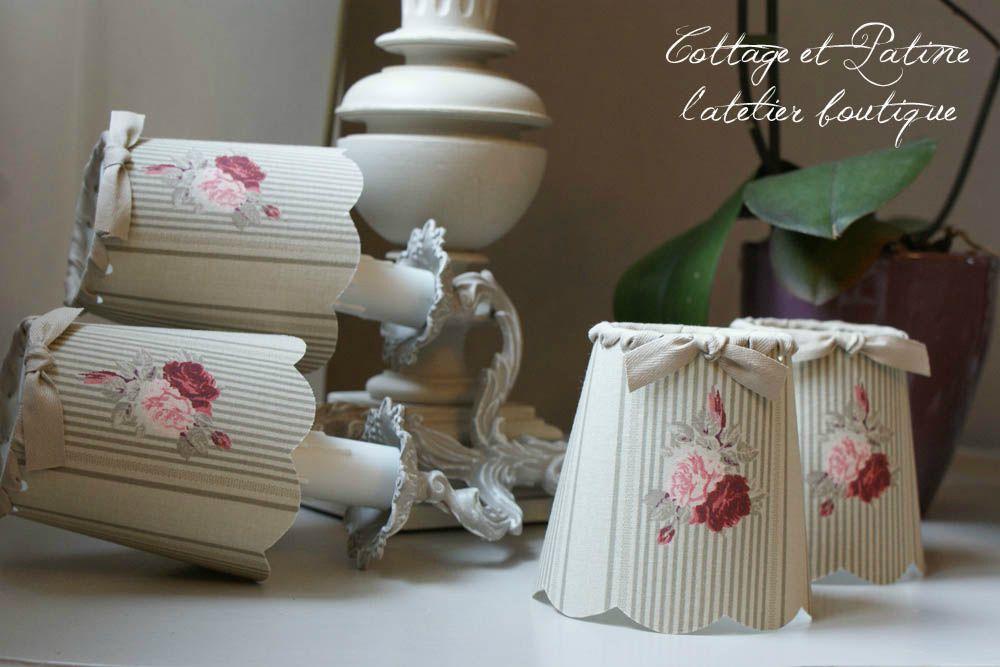 Cottage et Patine abat jours réf 0 rayures et fleurs