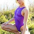 Kristal in Realise N-011 purple for Swimsuit-heaven.net