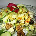 Salade de courgettes aux fruits secs, fromage et curcuma