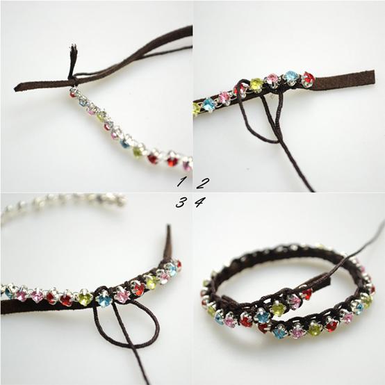 Comment Faire Un Bracelet Cuir Tresse Avec Perles Strass Brillantes