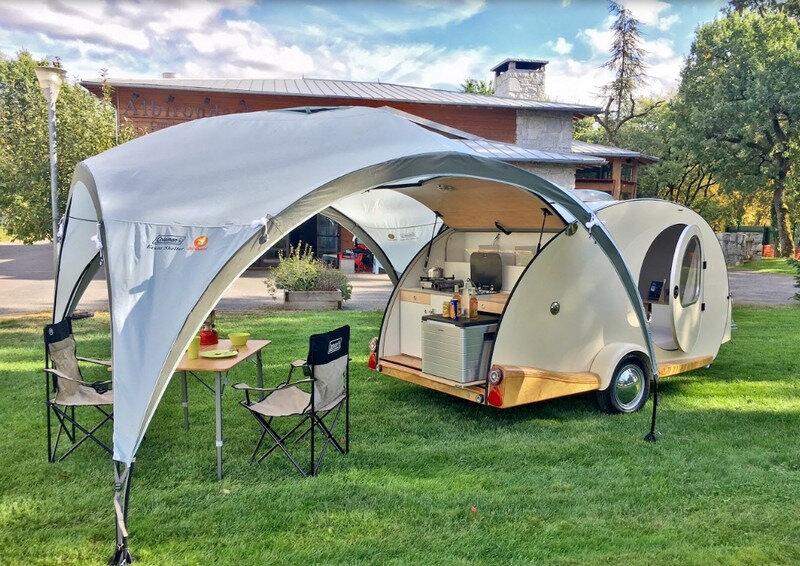 teardrop trailer remorque, mini caravane Hundred Miles, France Bivouac et Tourisme, camping, auvent