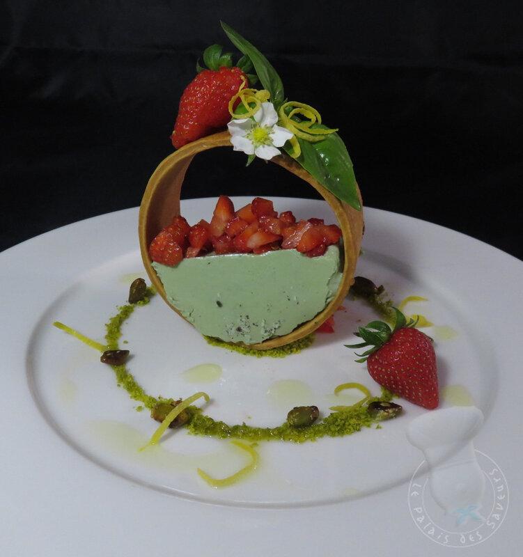 Panna cotta pistache fraises citron