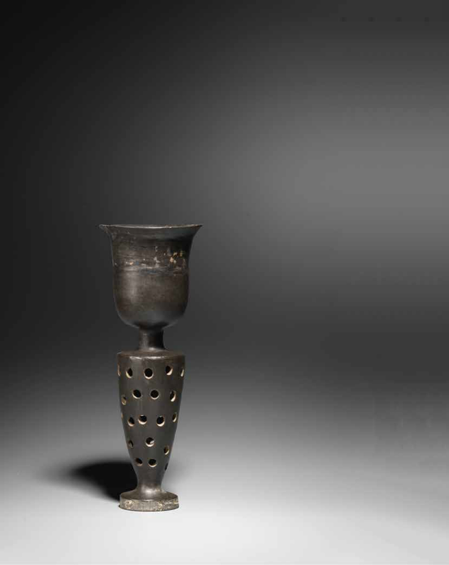 A rare black pottery stemcup, Neolithic Period, Longshan Culture