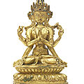 A rare gilt-copper alloy figure of sadaksari avalokitesvara, tibet, circa 16th century