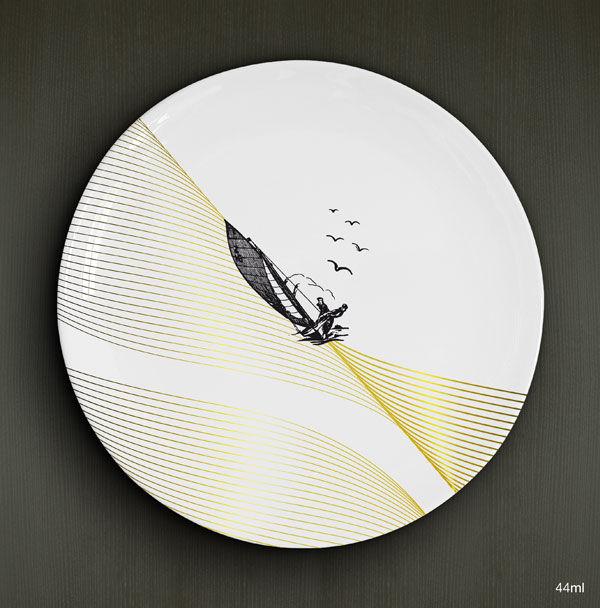 Voiliers, A. Duo, porcelaine D.26cm / 22,00€ l'unité