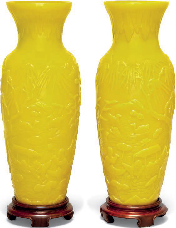 A pair of yellow glass vases, late 19th-early 20th century