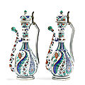 A pair of iznik style porcelain ewers, possibly by samson, france, 19th century