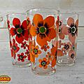 Vintage ... 3 verres à fleurs orange rouge rose