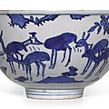A blue and white 'longevity' bowl, ming dynasty, wanli period (1573-1620)