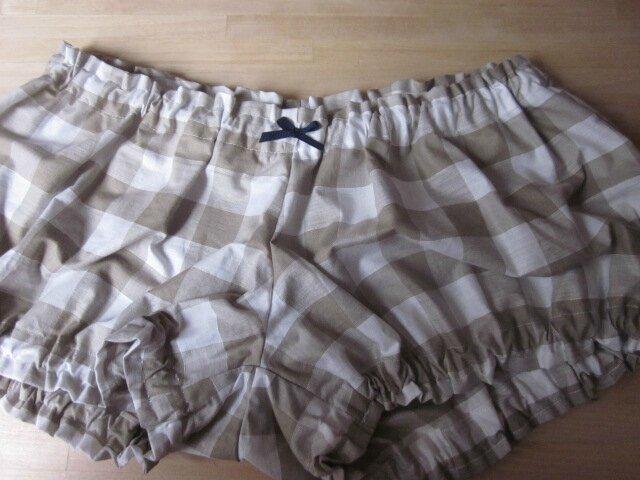 Culotte BIANCA en coton gros vichy beige - noeud marine (2)