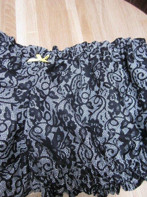Culotte BIANCA en coton imprimé dentelle noire - Noeud jaune (1)