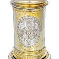 A baroque vermeil tankard with engraved coat of arms, hamburg, middle of 17th century. maker's mark of heinrich ohmsen